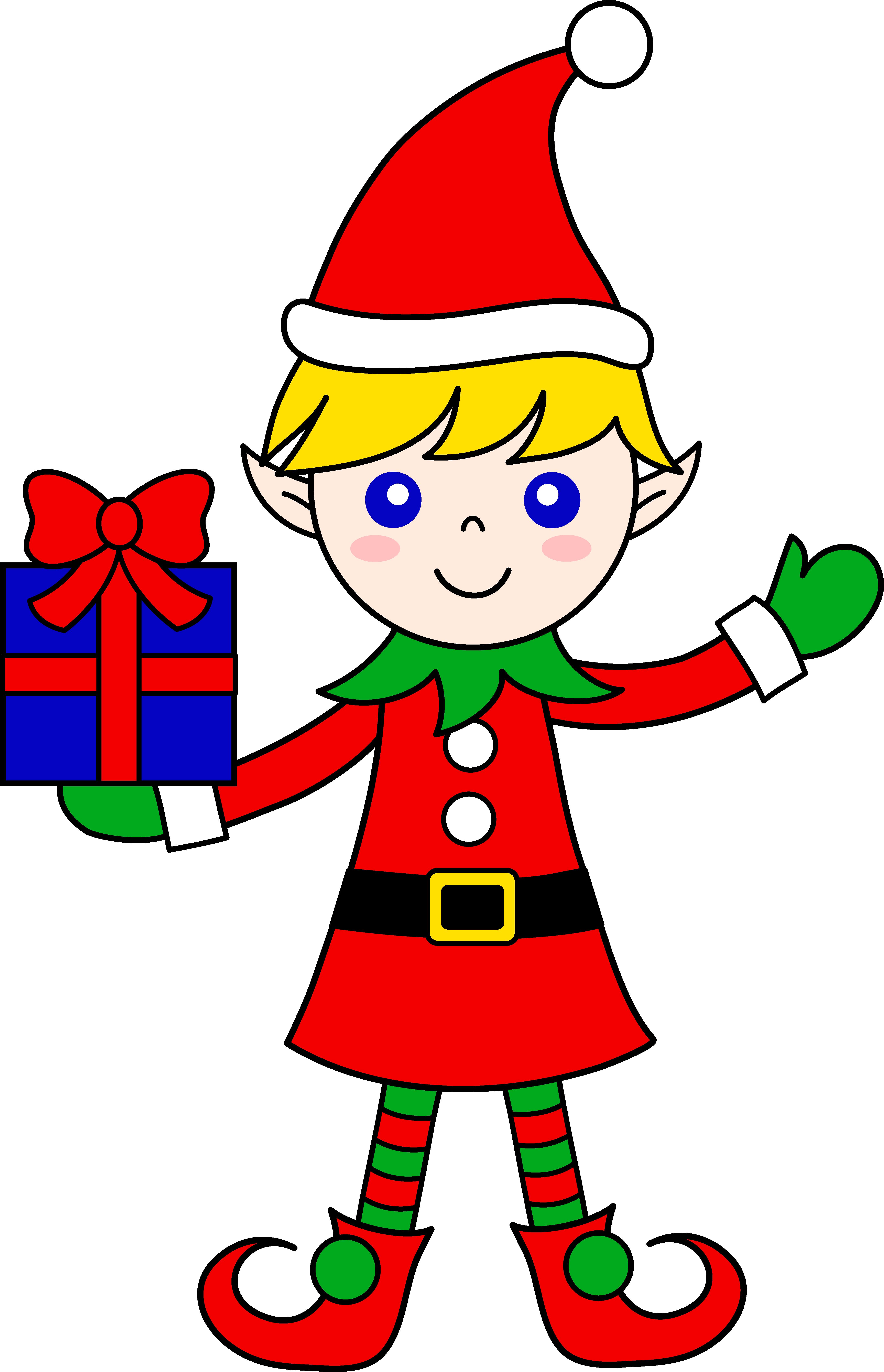 Cute Christmas Elf With Gift Elf Cartoon Santa Clipart Full Size Clipart 2705 Pinclipart