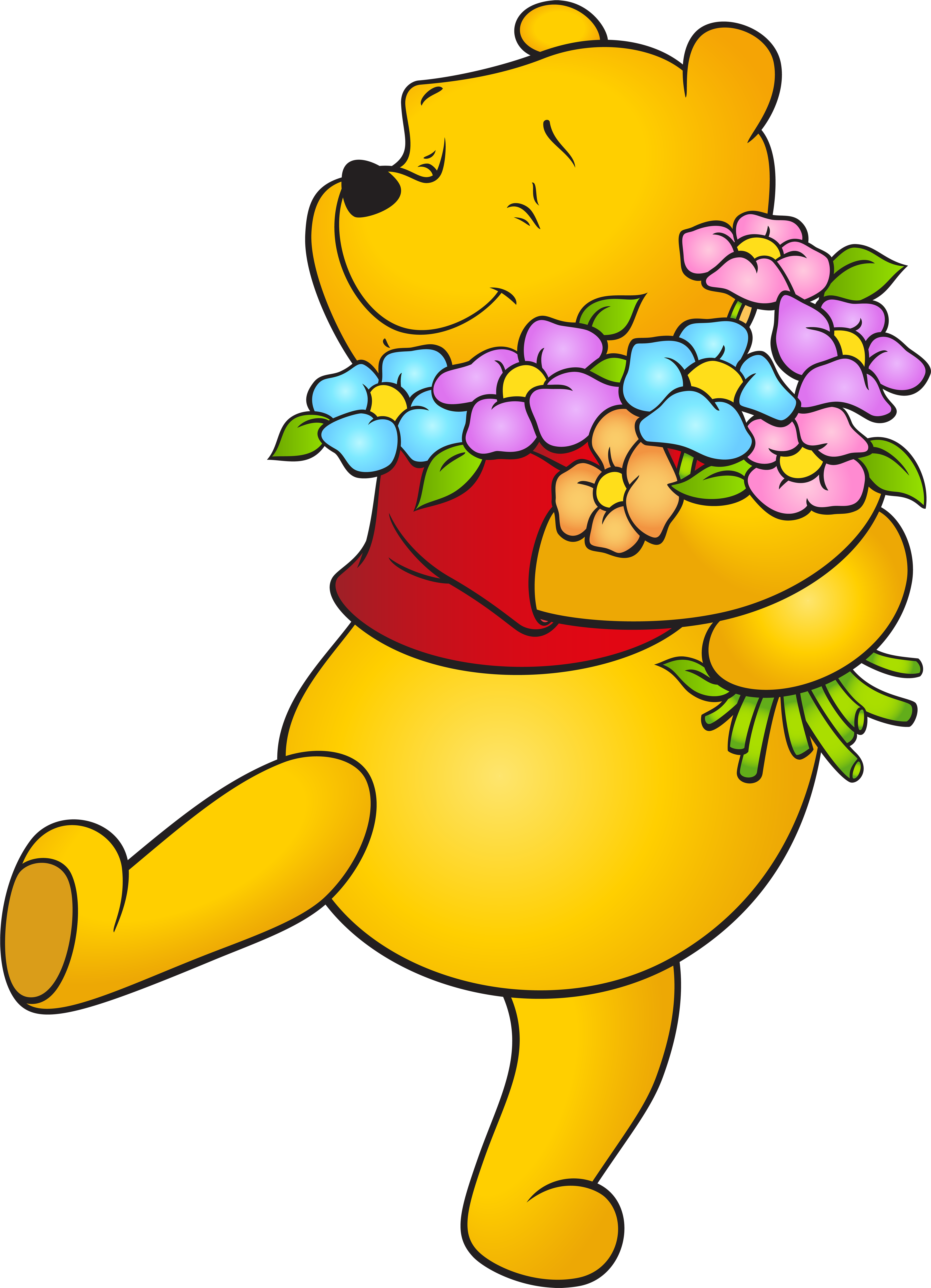 View Full Size - Winnie The Pooh With Flowers Clipart ...