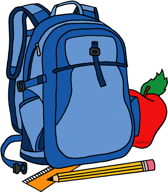 School Clip Art By Phillip Martin Backpack - Backpack Image Clip Art - Png Download - Full Size Clipart (#12892) - PinClipart