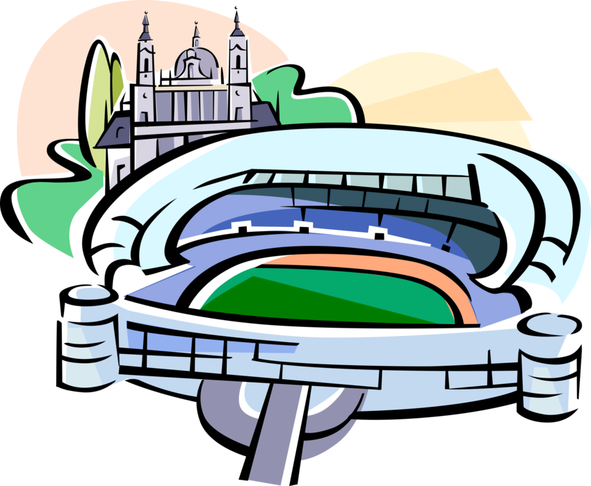 Vector Illustration Of Bernabeu Sports Stadium Madrid Bernabeu Stadium Cartoon Clipart Full Size Clipart 1028216 Pinclipart