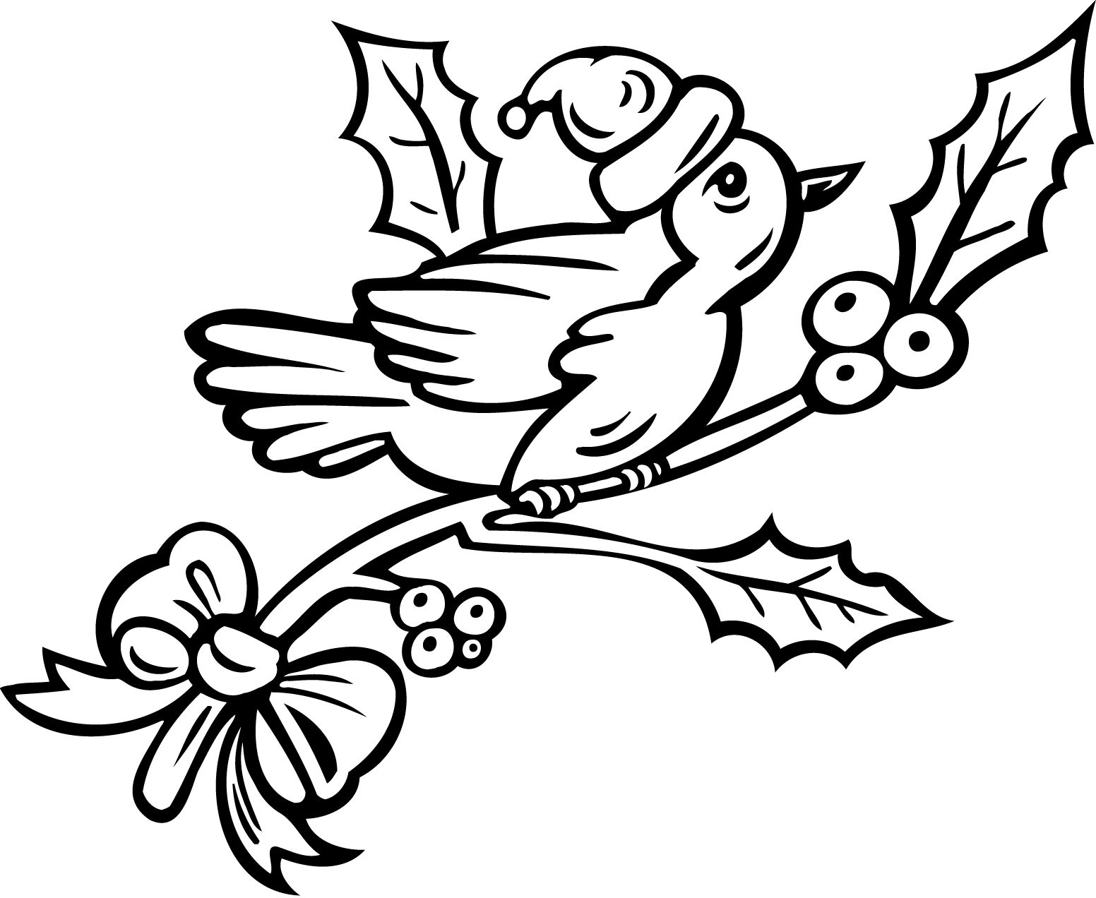 Printable Robin Bird Coloring Pages With Christmas ...
