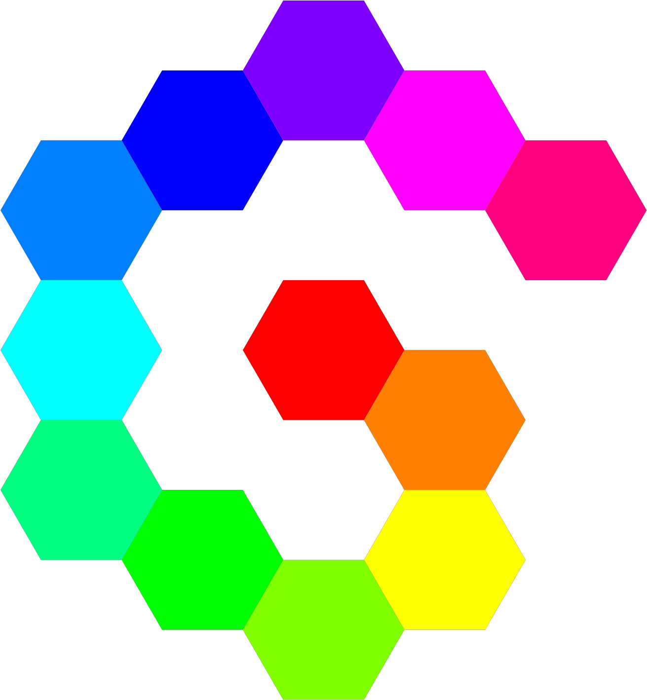 12 Hexagon Spiral Rainbow Svg Vector File Vector Clip Hexagons Rainbow Colored Png Download Full Size Clipart 135876 Pinclipart