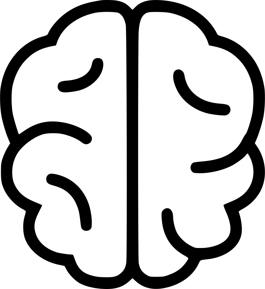 Brain Icons - Simple Brain Line Drawing Clipart - Full Size