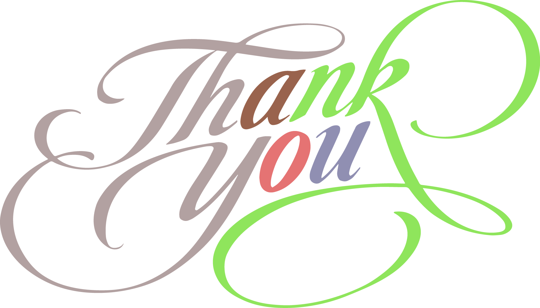 Thank You Colorful Fantastic Text Clipart Thank You Vintage Png