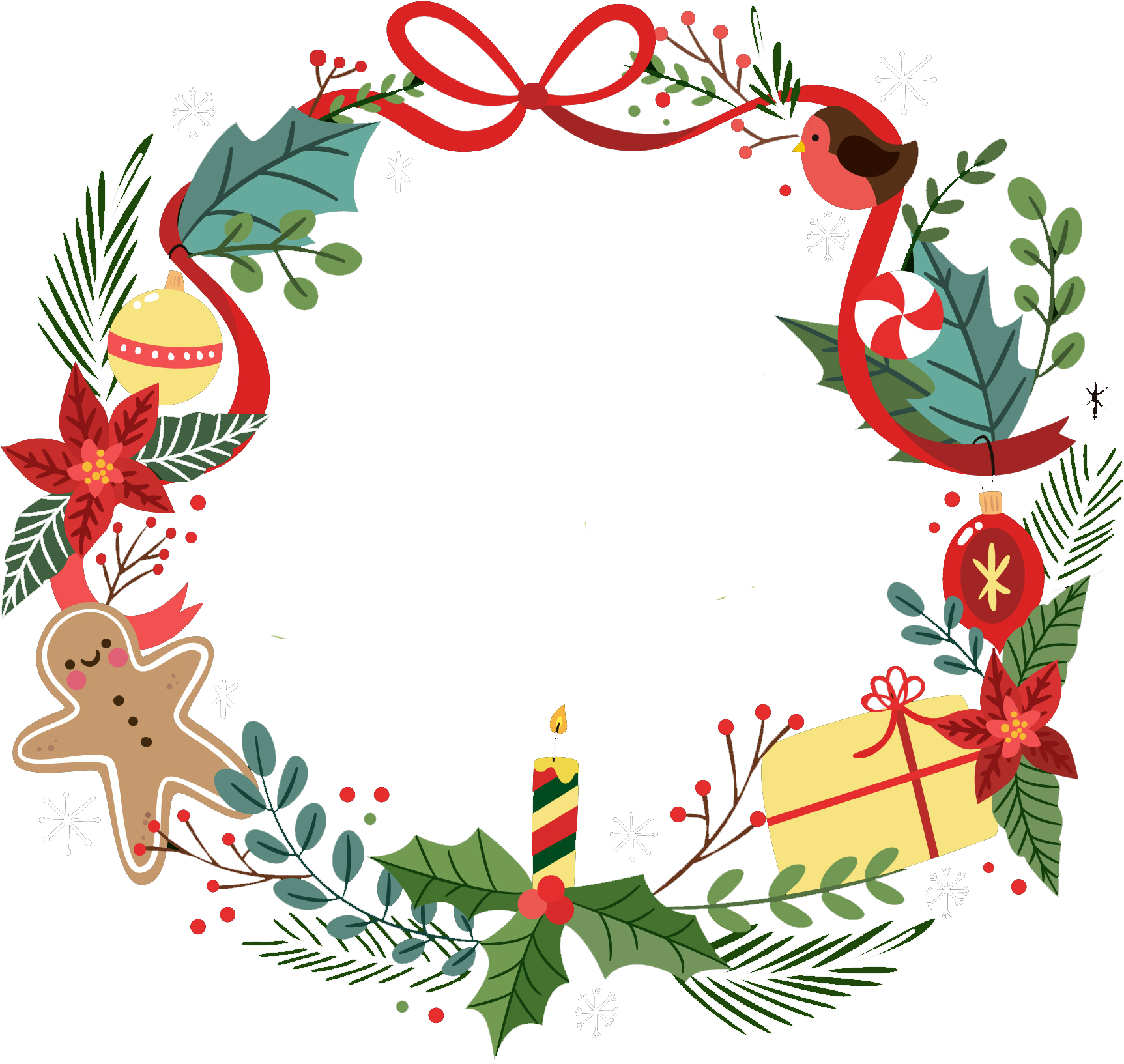 Christmas Garland Vector Png Clipart Full Size Clipart 1679411