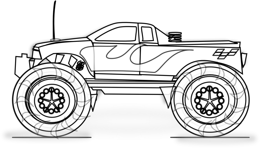 Free Printable Monster Truck Coloring Pages For Kids - Monster Truck Printable  Colouring Page Clipart - Full Size Clipart (#174063) - PinClipart