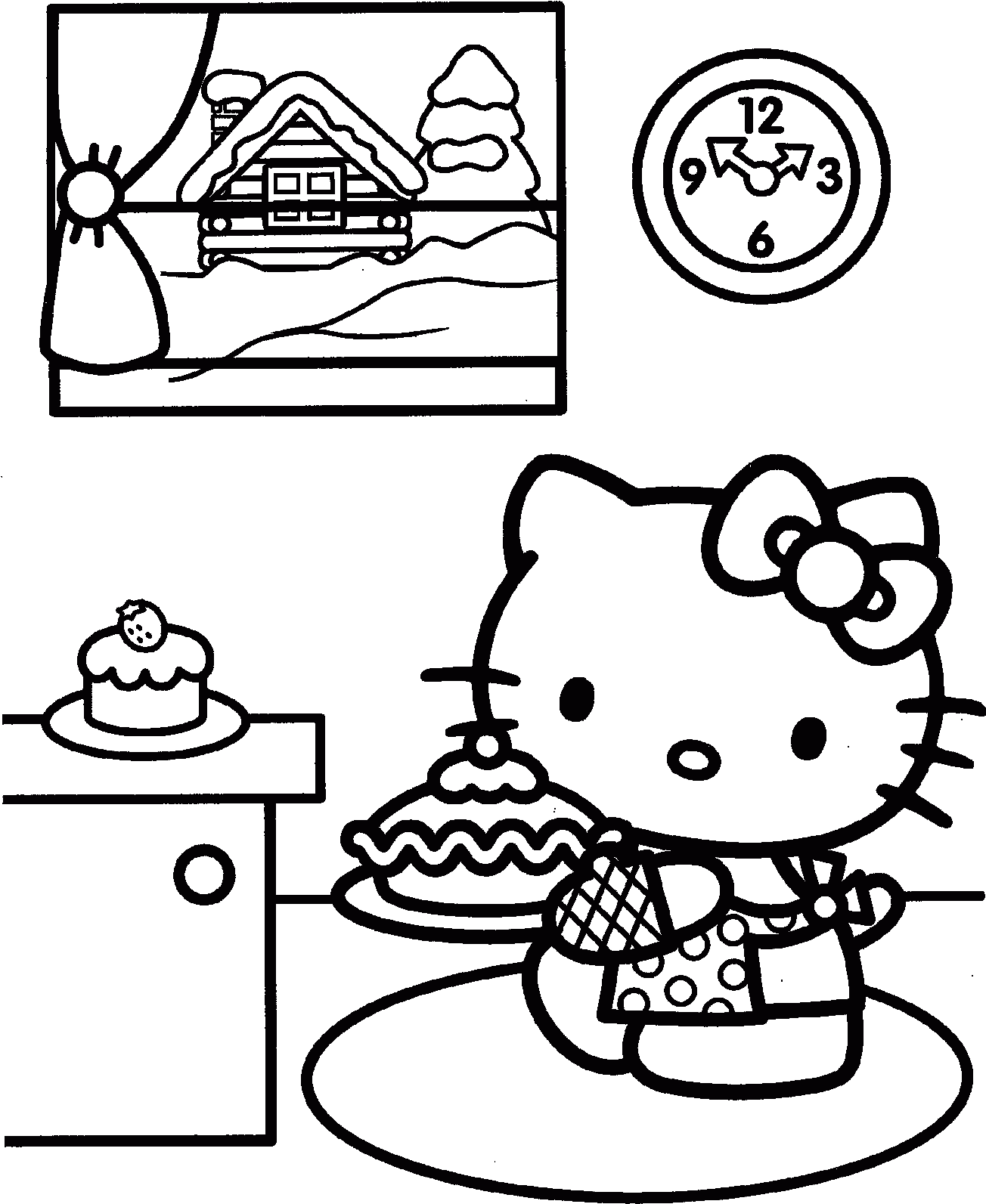 Easy Draw and Color Rainbow Hello Kitty Coloring Pages - Print ... | 1593x1304