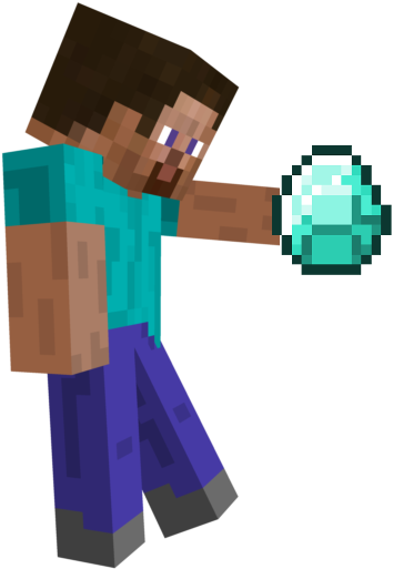 Minecraft Clipart Steve Running Minecraft Steve Holding Diamond Png Download Full Size Clipart 1728136 Pinclipart