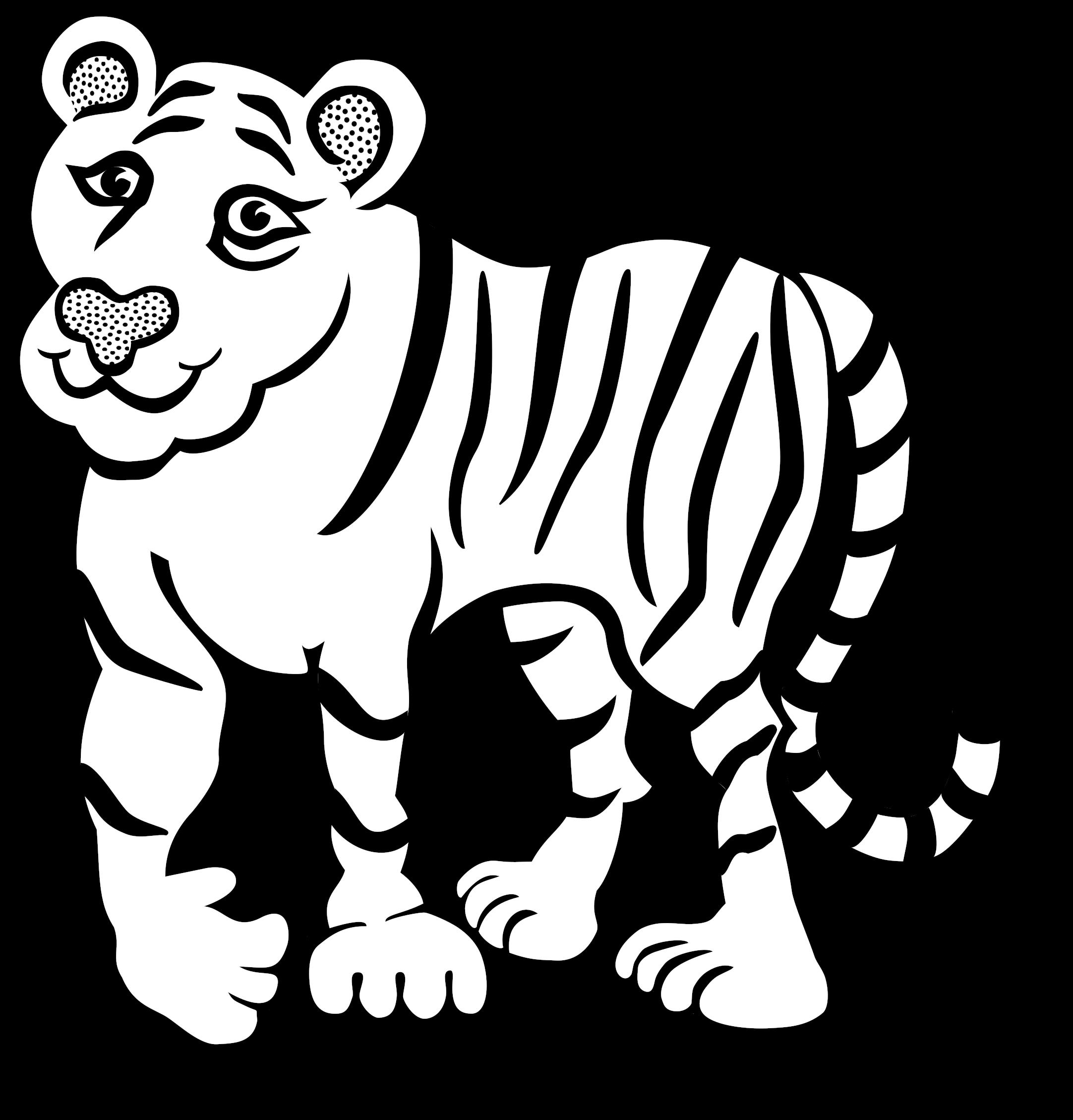 Tiger Outline Animal Free Black White Clipart