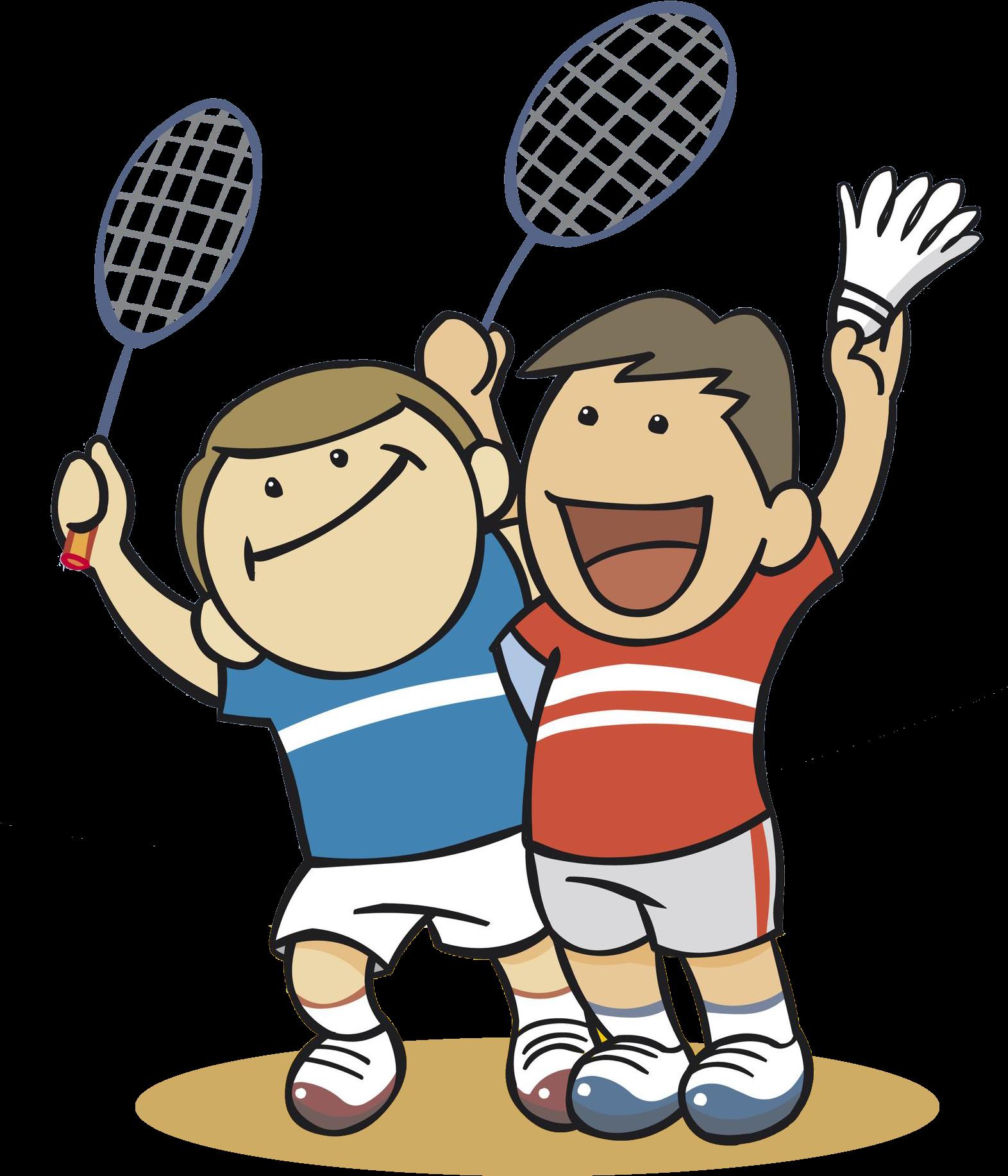 Badminton Clipart Badmitton - Cartoon Boy Play Badminton ...