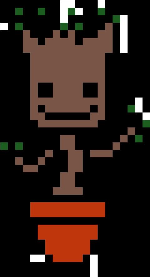 Baby Groot Pixel Art Minecraft Groot Clipart Full Size