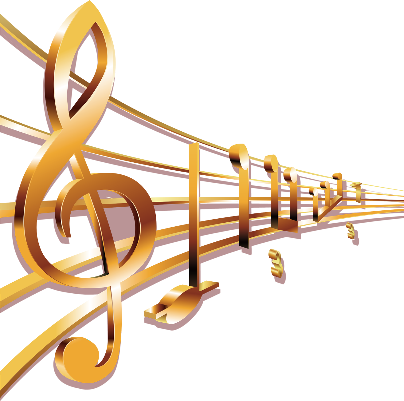 Musical Sheet Transprent Free - Gold Music Note Png ...