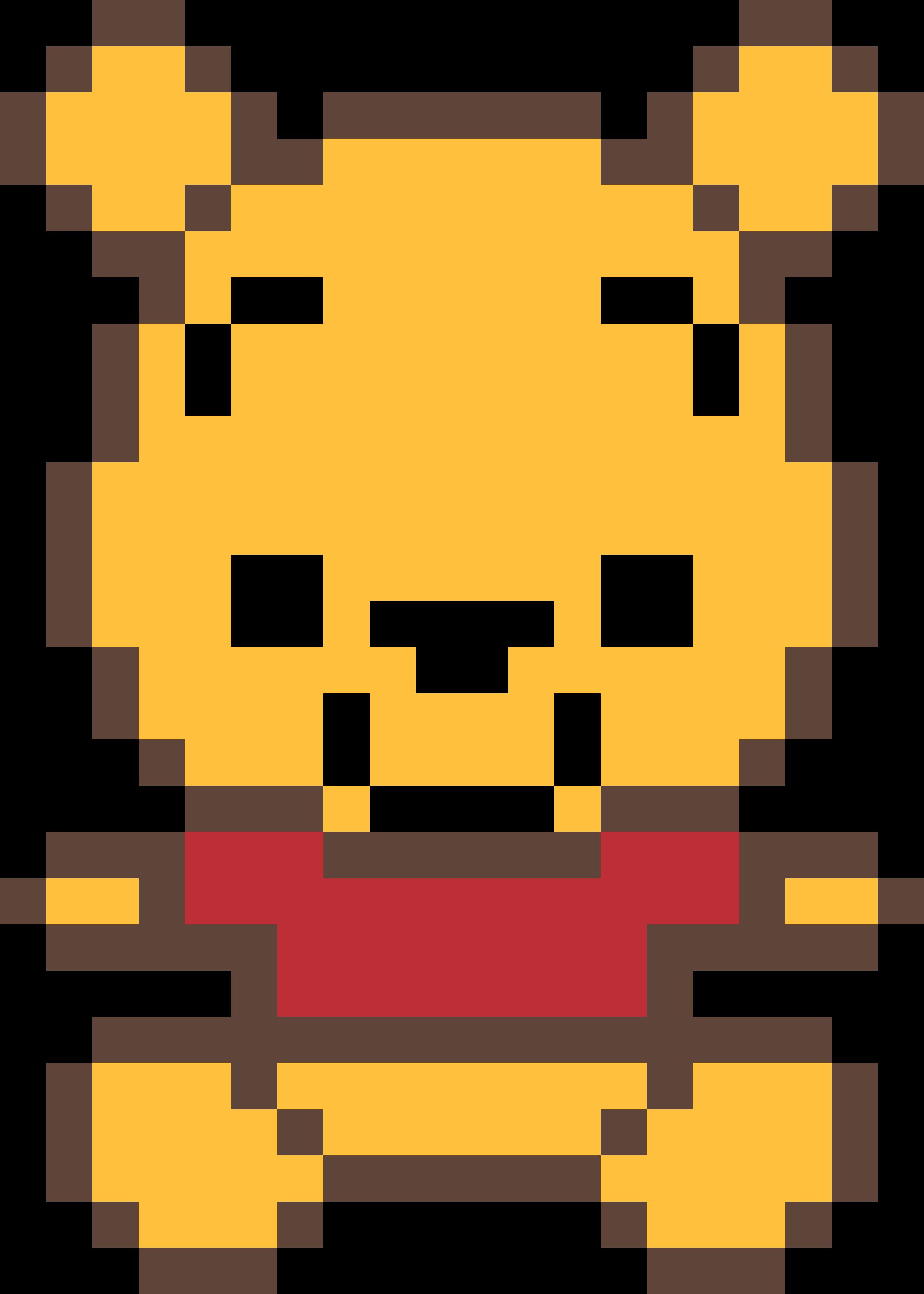 Winnie The Pooh Bear Minecraft Pixel Art Clipart Full