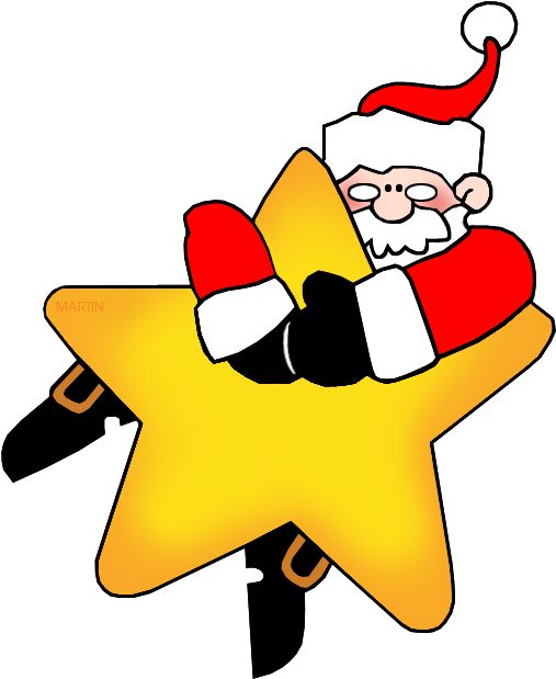 Christmas In July Santa Clipart.Santa On A Star Star Christmas Clipart Png Download
