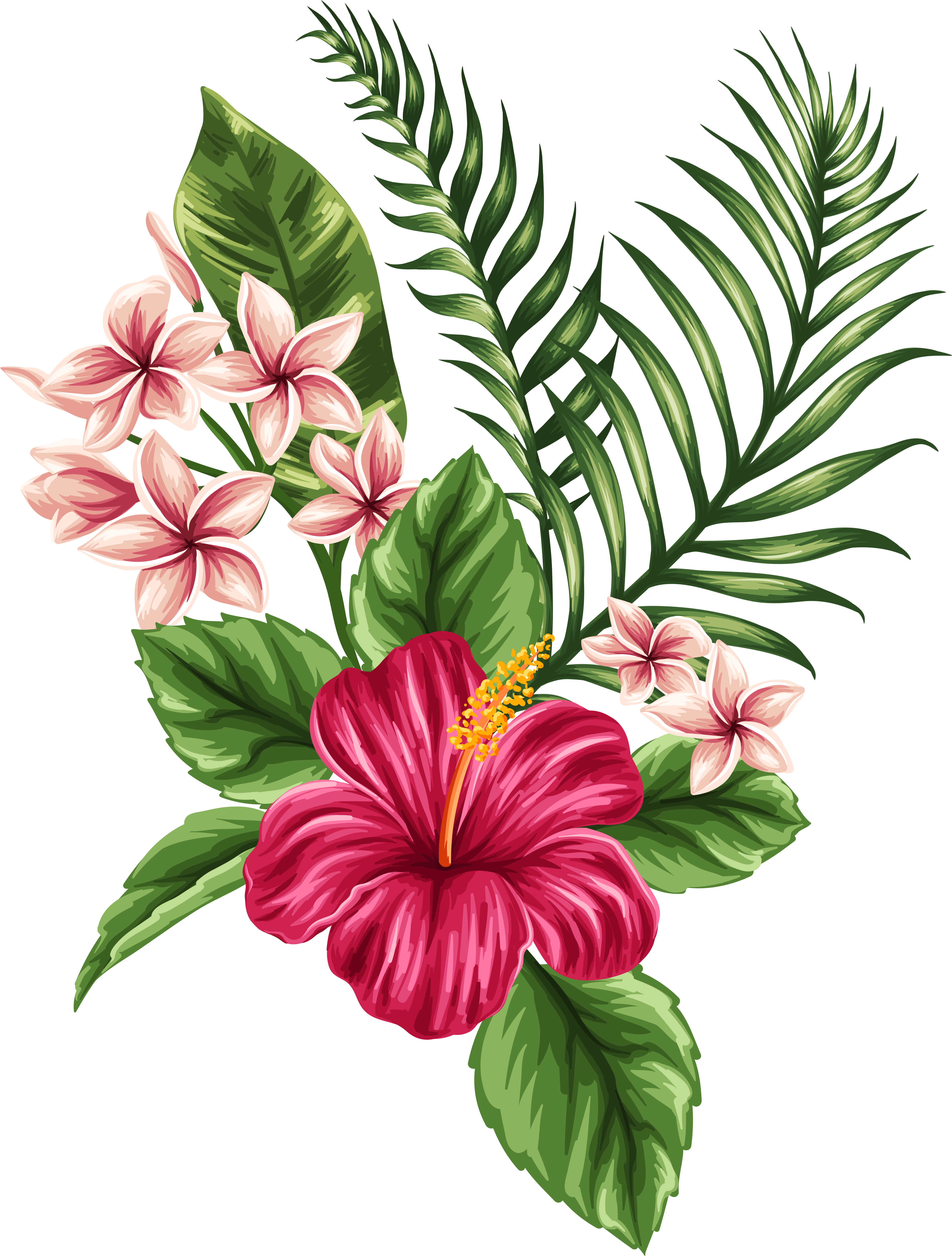 Svg Transparent Tropical Watercolor Flowers Leaves ...