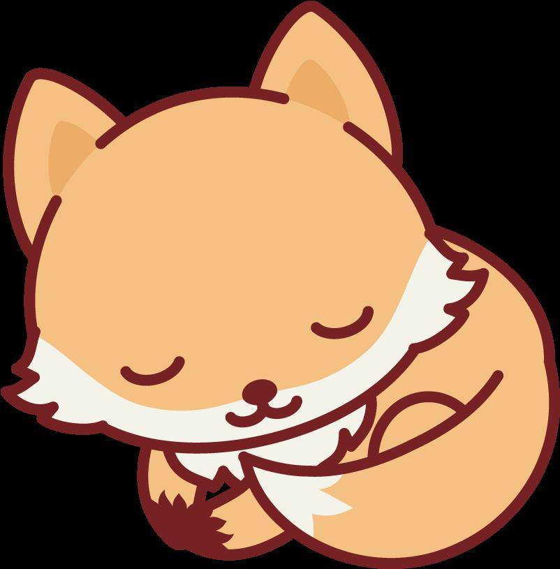 Sleeping Nerdy Fox Kawaii Cute Fox Drawing Clipart Full Size