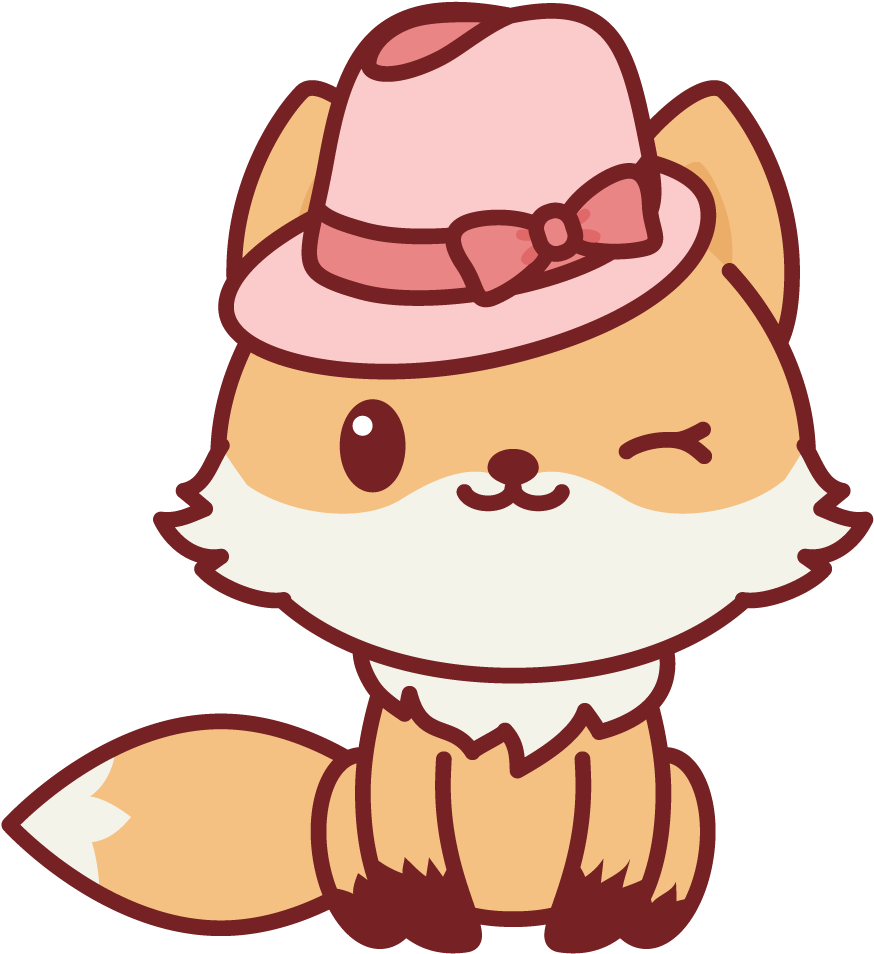Winking Nerdy Fox Kawaii Cute Animals Cartoon Clipart Full