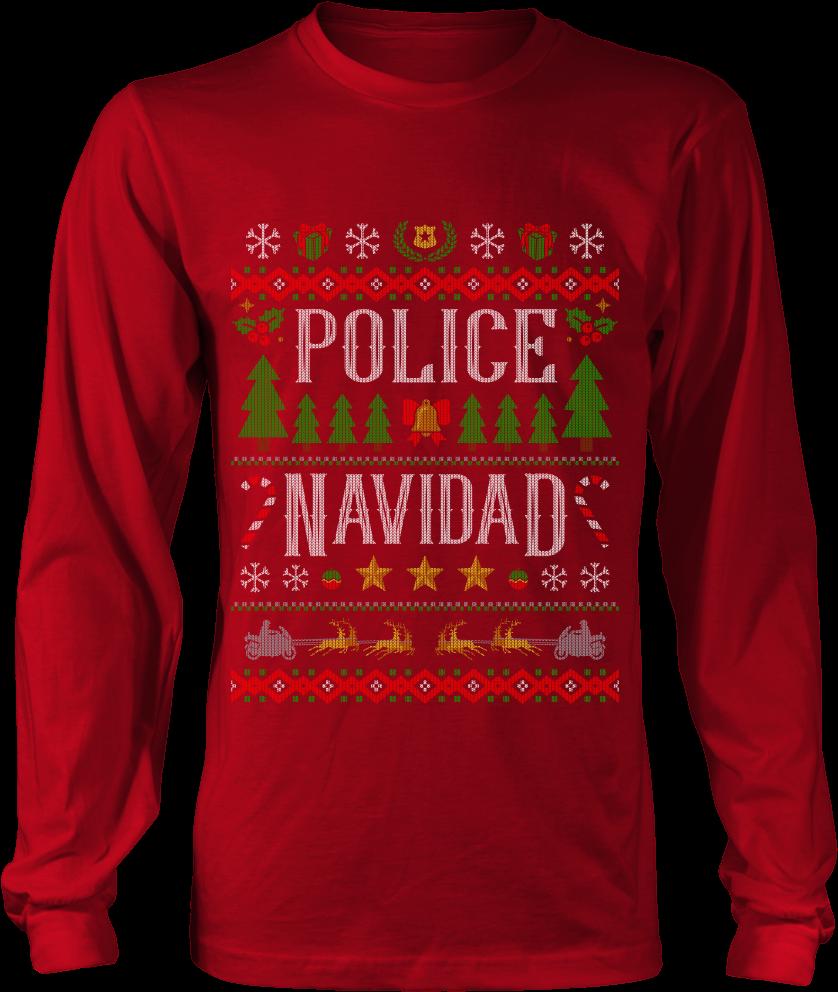 Ugly Christmas Sweater Clipart.Police Navidad Ugly Christmas Shirts And Sweaters Anatomy