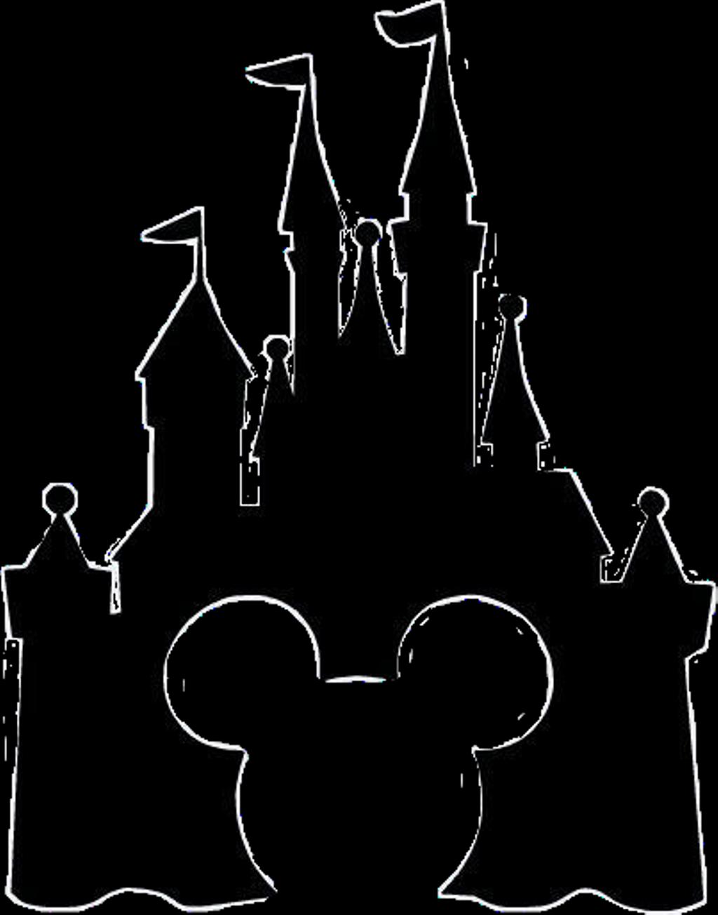 Disney castle sleeping beauty silhouette. Sticker clipart full size