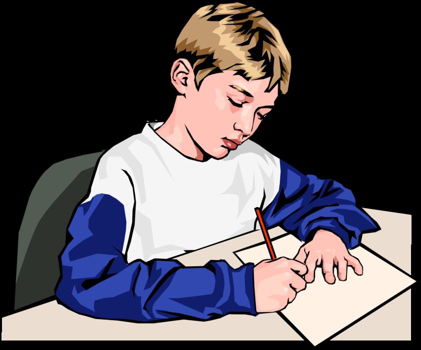 Ученик пишет в тетради картинка для детей
