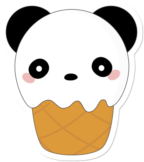 Kawaii Cute Panda Bear Ice Cream Kawaii Cute Panda Clipart