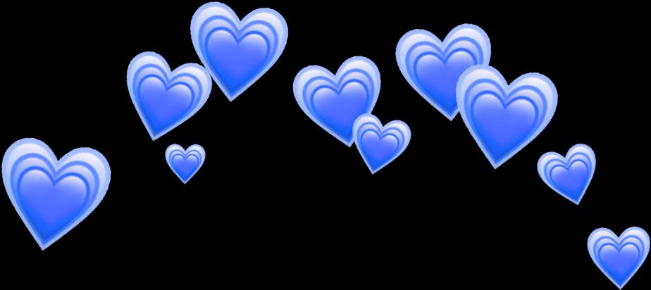 Heart Blue Blueheart Heartblue Hearts Crown Tumblr - Emoji Clipart