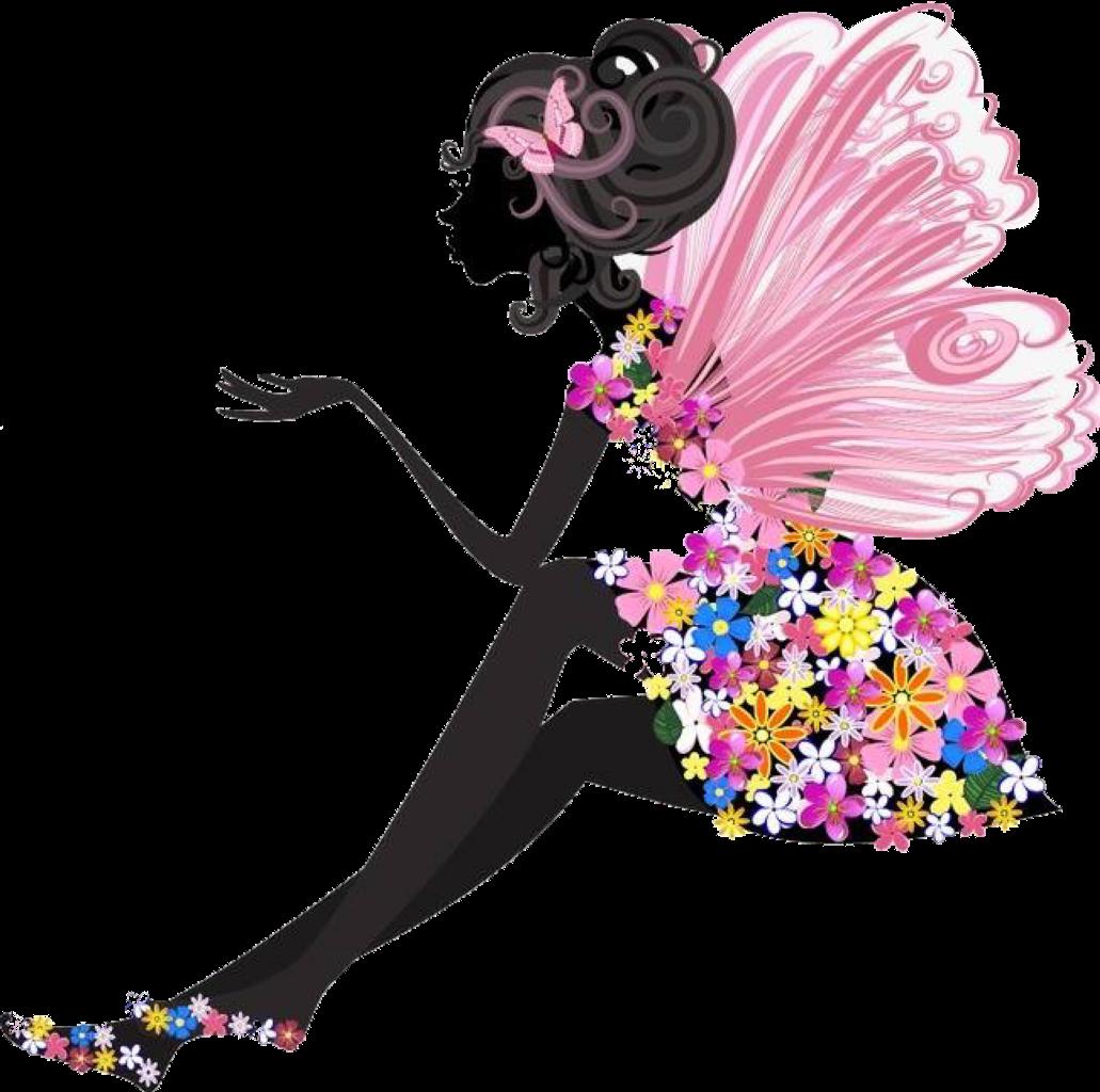 Картинки девушка цветы бабочки вектор, моя