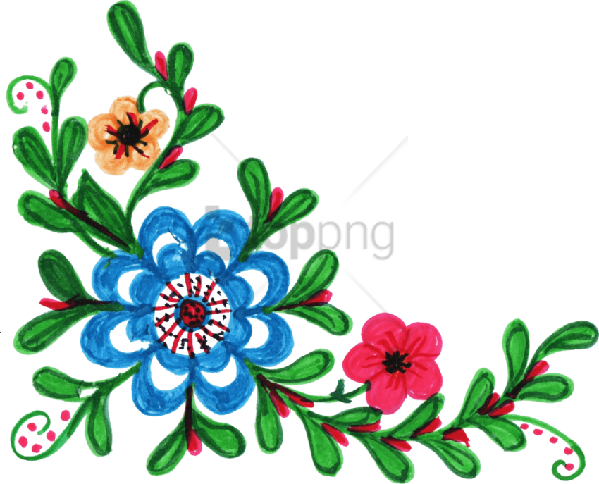 Free Png Colorful Floral Corner Borders Png Png Image Colorful Flower Clipart Png File Transparent Png Full Size Clipart 3991751 Pinclipart