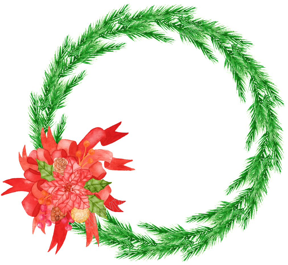 Christmas wreath reef. Png hand painted portable