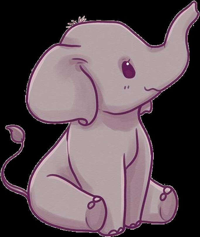 Elephant Sticker - Cute Kawaii Elephant Clipart - Full ...