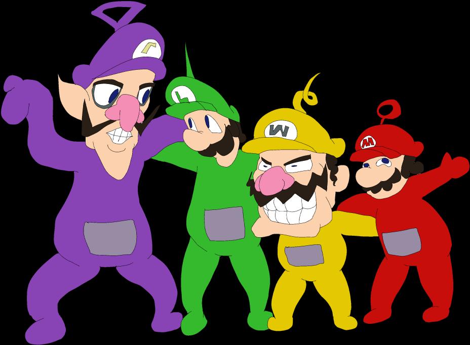 Mario Wario Luigi Waluigi As Teletubbies Png Download