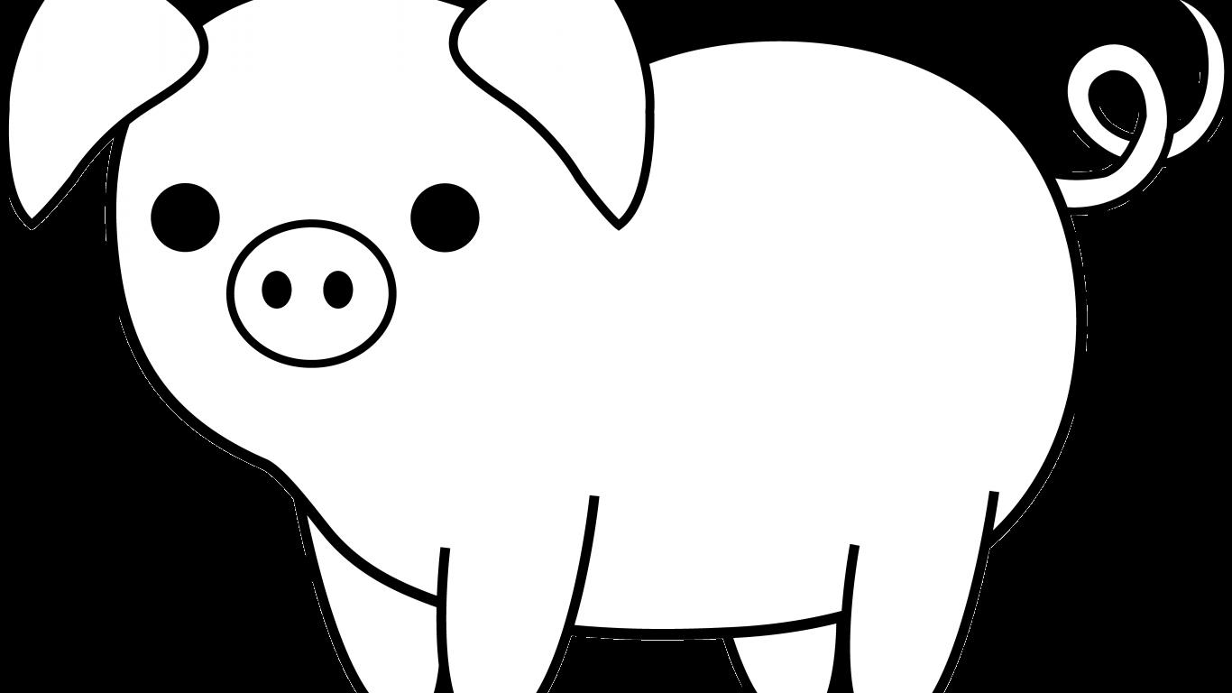 21+ Cartoon Pig Clipart Black And White Pics