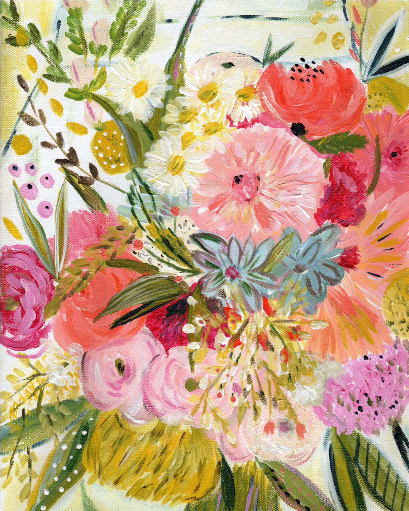 A Bouquet For Jeni Art Print Bouquet Painting Clipart Full Size Clipart 4238797 Pinclipart