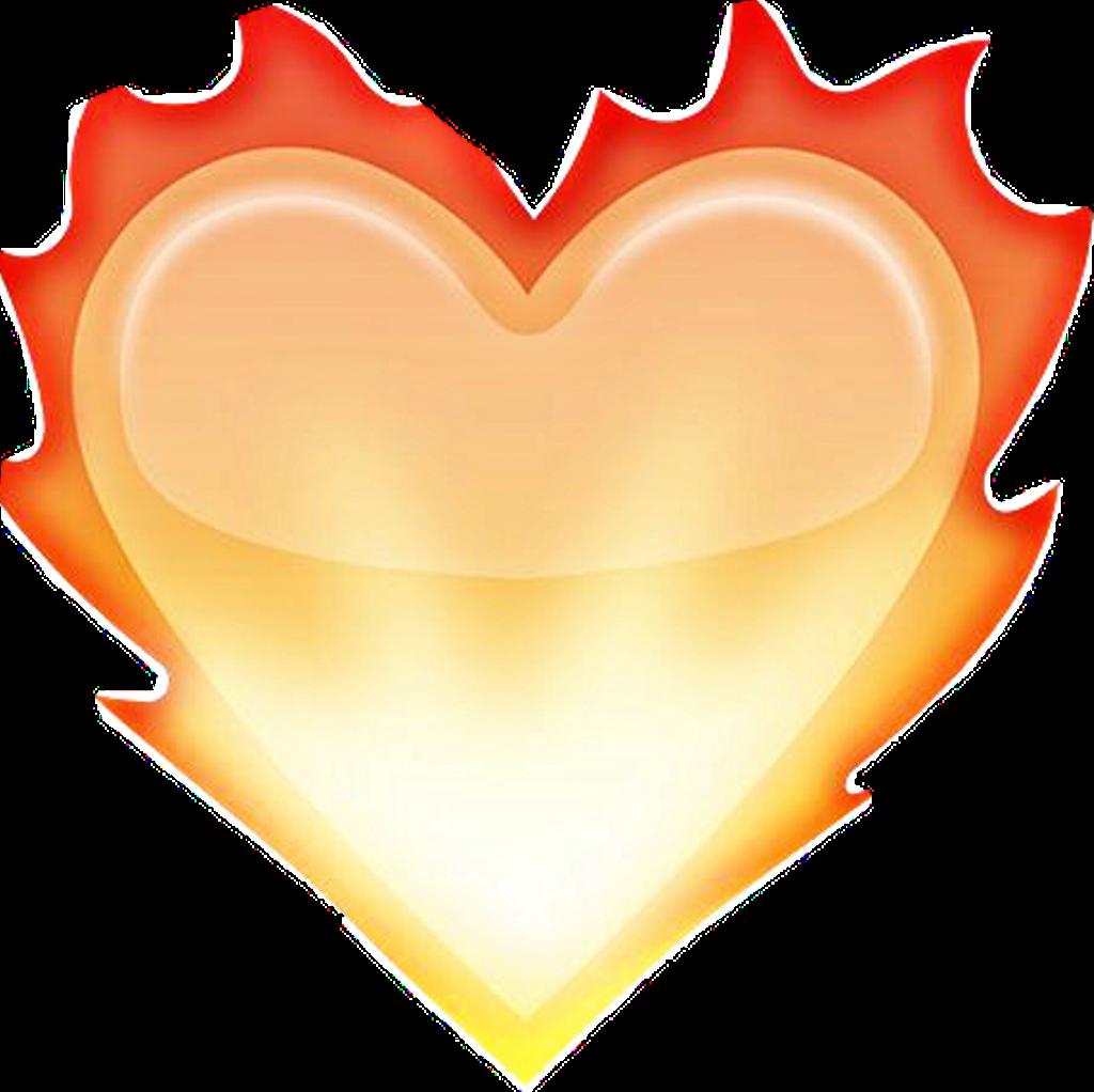 Orange Heart Emoji White Background