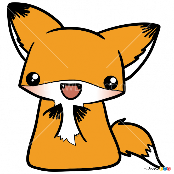 Carnivore Drawing Kawaii Draw A Cute Fox Clipart Full Size