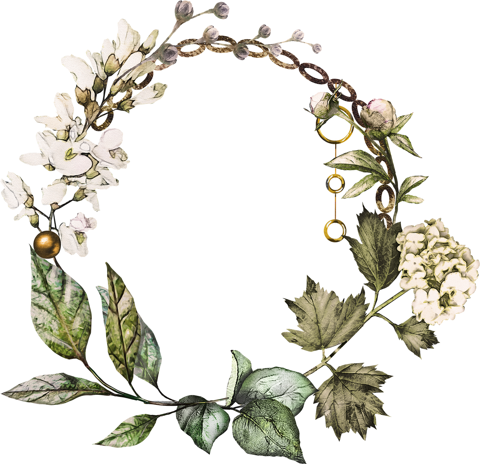 Label Tag, Watercolor - Watercolor Cotton Wreath Clipart (1800x1682), Png Download