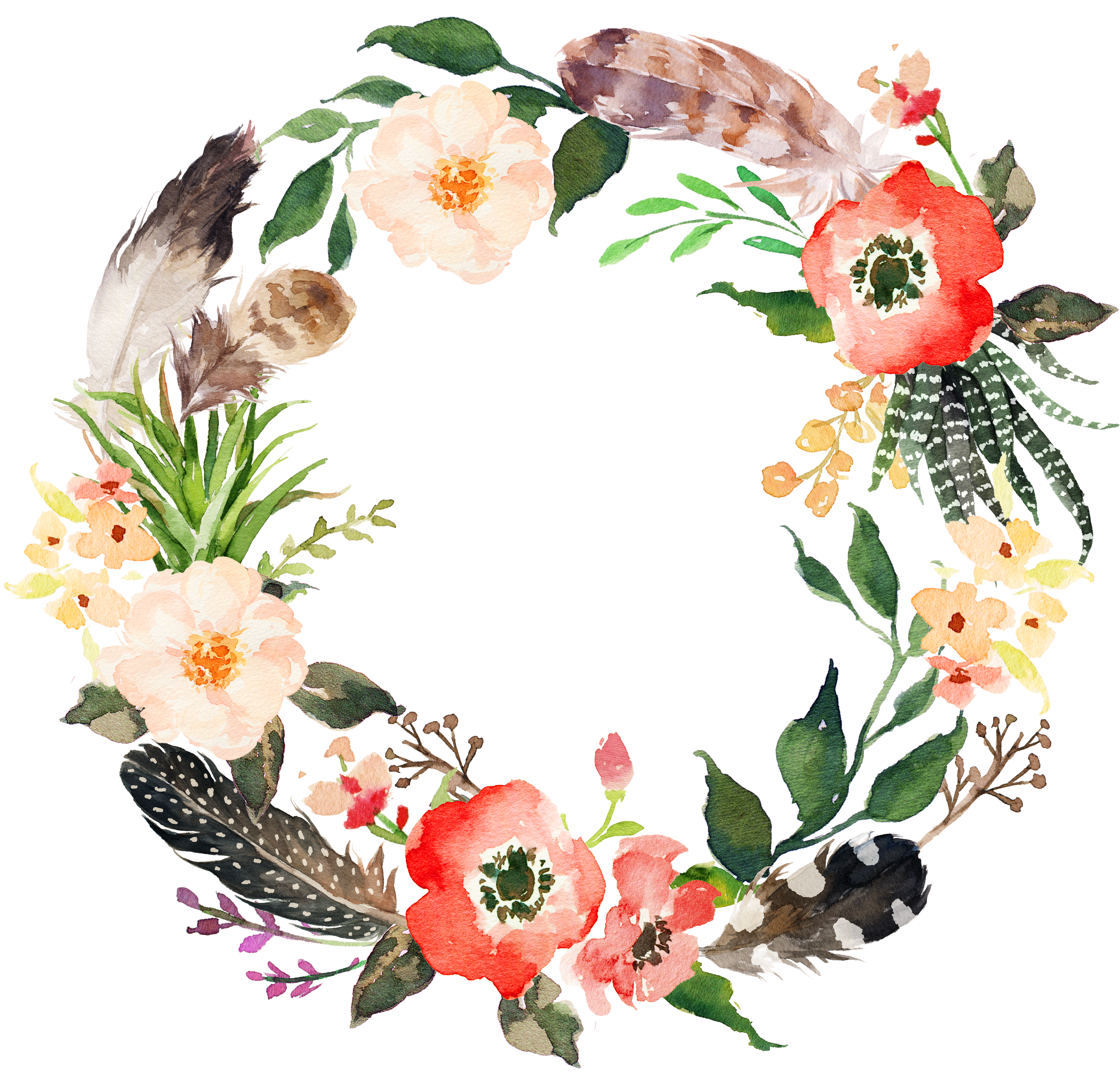 Invitation Wreath Watercolor Painting - Watercolour Floral Wreath Transparent Png Clipart (3713x3541), Png Download