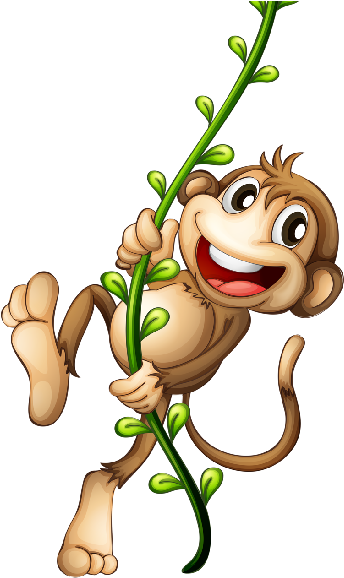 Spider Monkey Clipart Mom - Hanging Monkey Cartoon Png Transparent ...
