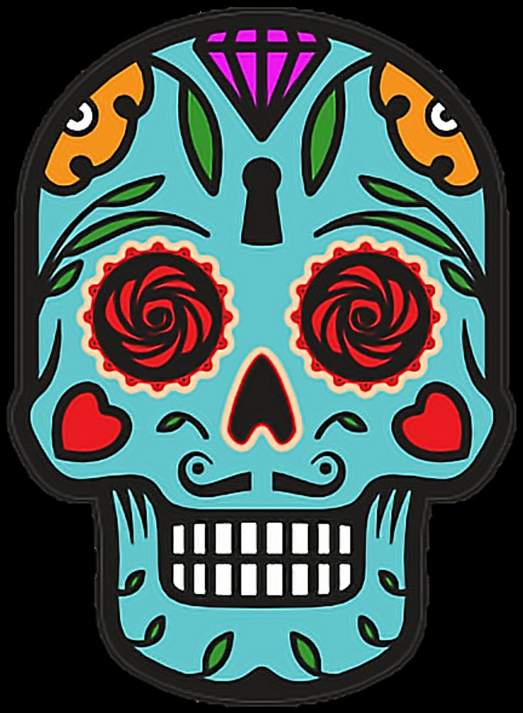 Catrina Skull Halloween Diademuertos Blue Flowers Happy ...
