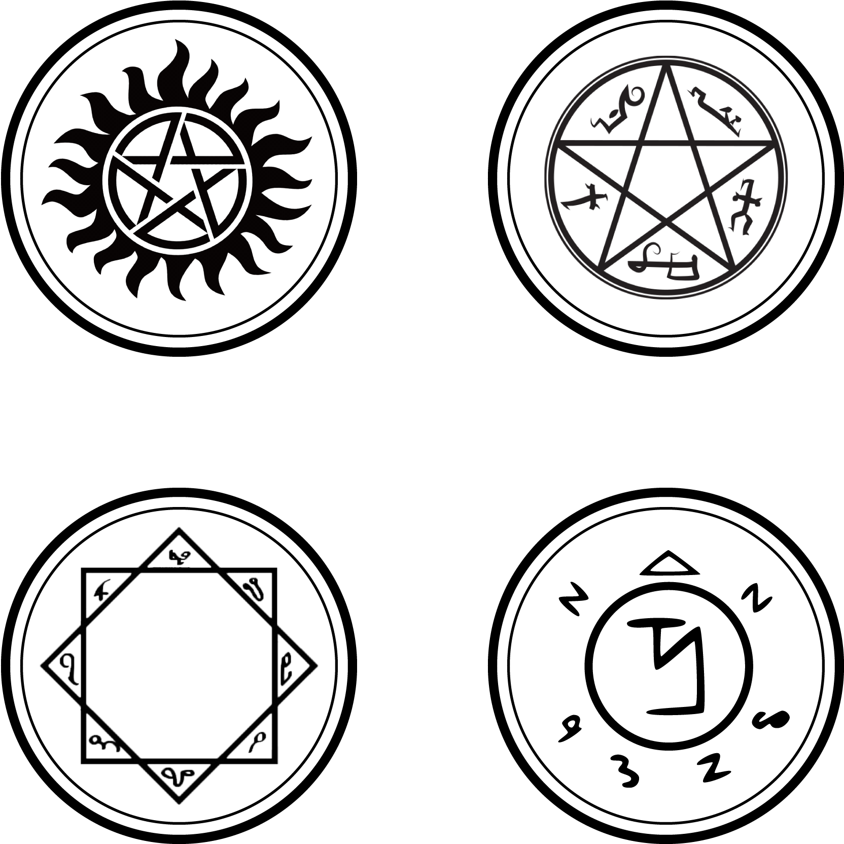 Hey Guys I Am Wood Burning Some Symbols From Supernatural Supernatural Winchester Bros 6 Square Car Magnet Clipart Full Size Clipart 548451 Pinclipart