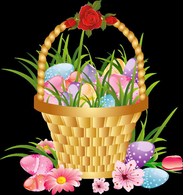 Easter Basket Bunny Png Hd Pn - Clip Art Easter Flowers ...
