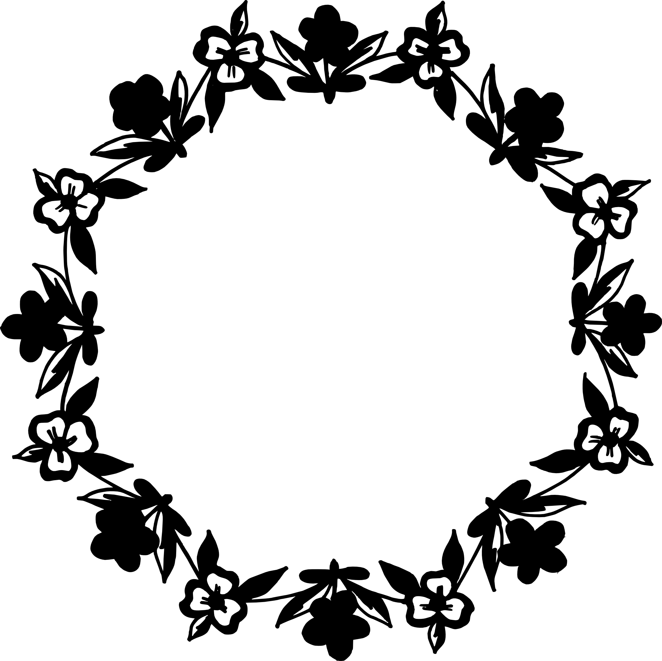 10 Circle Floral Frame Vector Png Transparent Svg Nautical Black