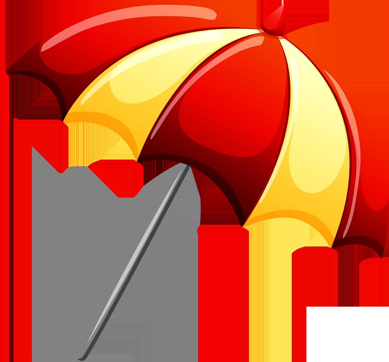 Download Clip Umbrellas Personal - Red And Yellow Umbrella ...