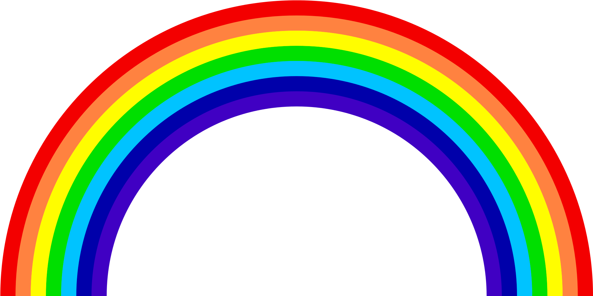 Rainbow Png Images Colors The Sky Png Only - Transparent Rainbow Png Clipart (2064x1026), Png Download
