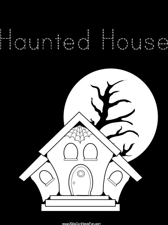Haunted House Tracing Page Maison Hantee Halloween Dessins
