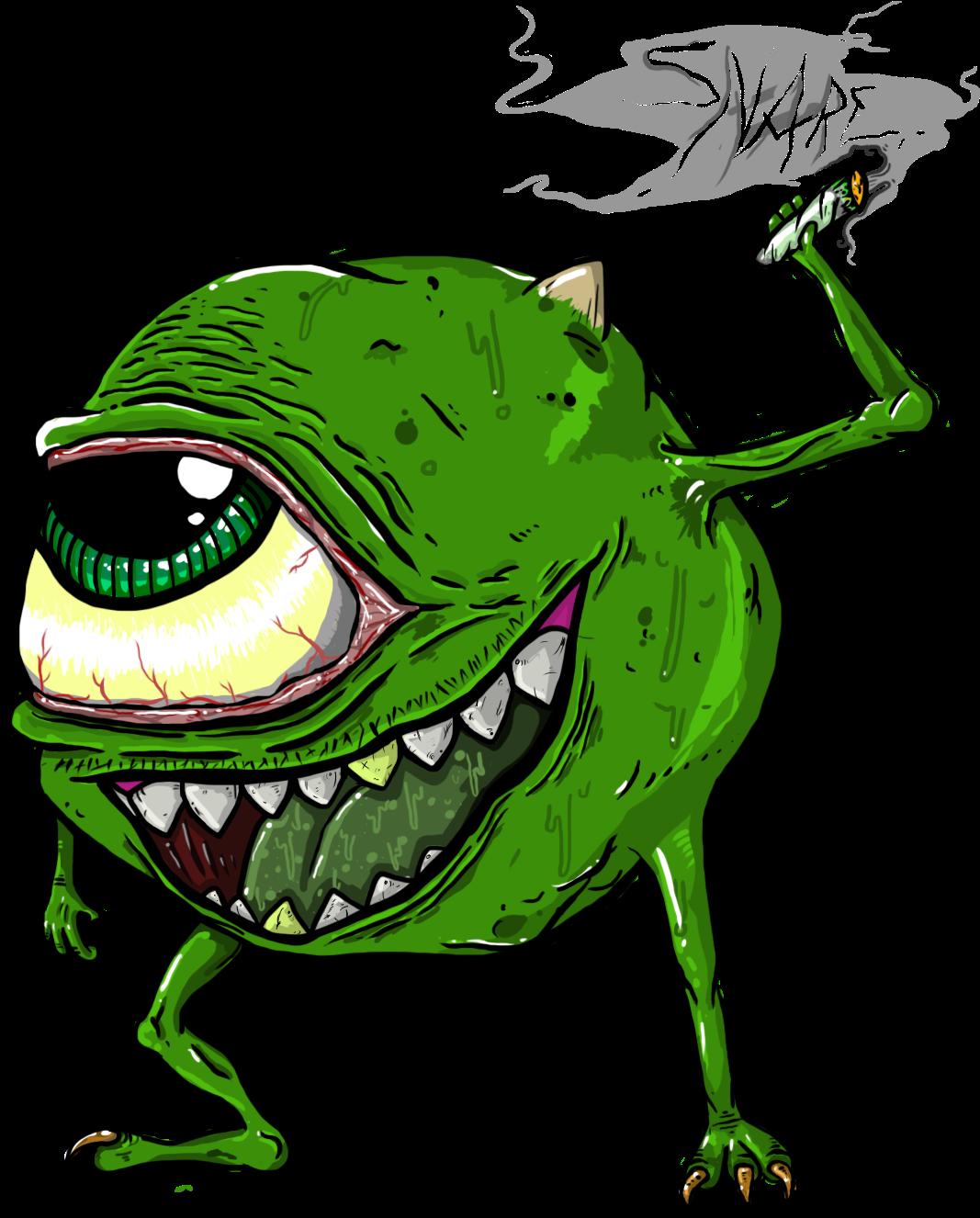 Svg Royalty Free Cannabis Drawing Cartoon Mike Wazowski Weed