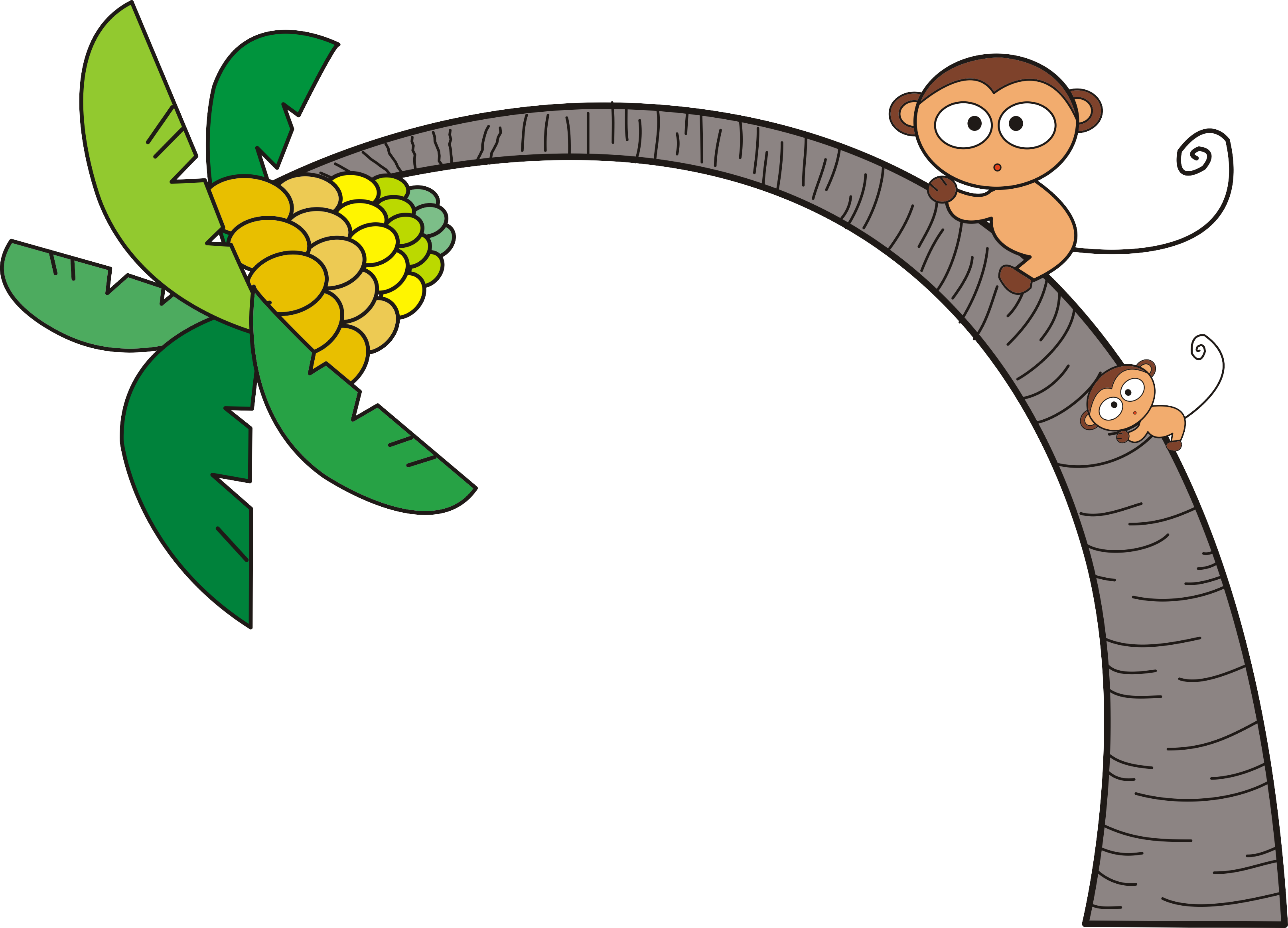 Tree Clip Art Coconut Monkey Transprent Png - ลิง ปี น ...