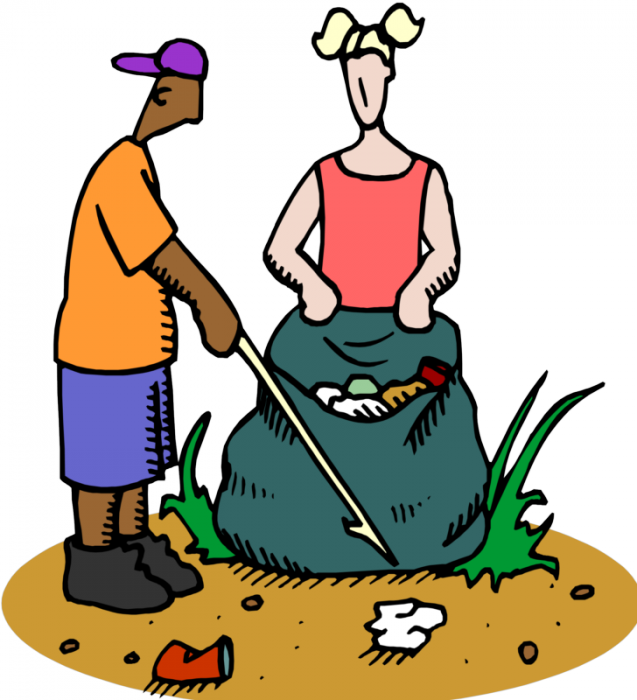Community Service Project-trash Pick Up - Keep Your School Clean Clipart (637x700), Png Download