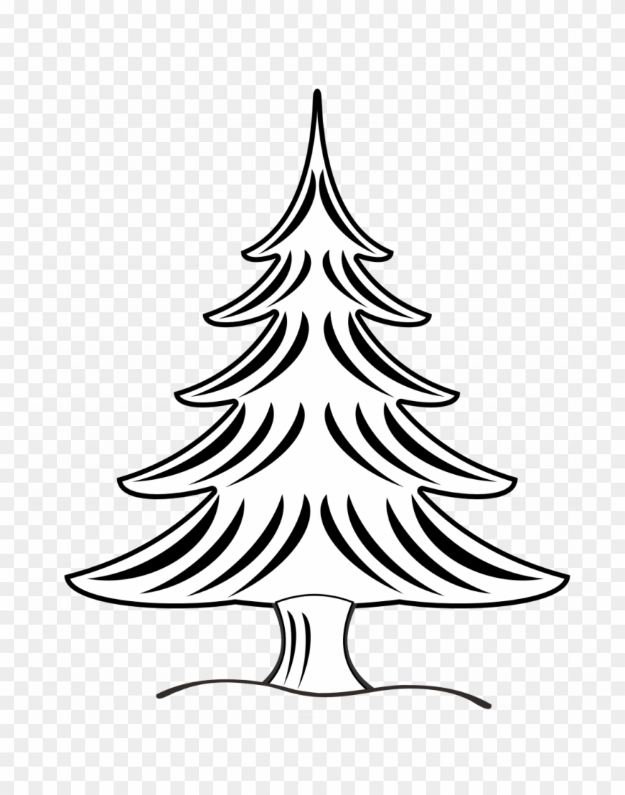 Large Size Of Christmas Tree Vector Art Black And White Christmas