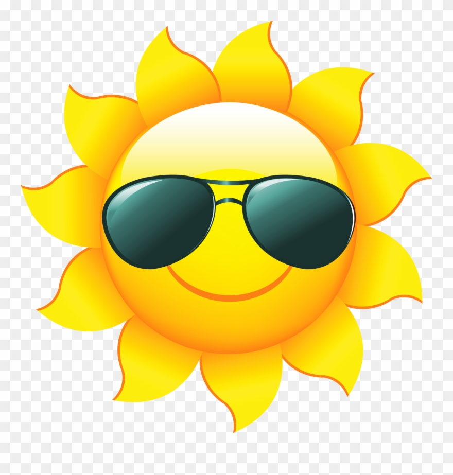 Sunshine Sun Clip Art With Transparent Background Free - Sun With Sunglasses Clip Art - Png Download